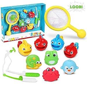 Loori Badewannenspielzeug Baby 11tlg Badespielzeug Wasserspielzeug mit 4 Spray-Wasser & Schwimmen und 7 Spielzeug zum Angeln für Baby Kinder ab 6 Monate für Badewanne Dusche Pool