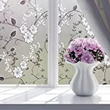 #6: Lepakshi New 60*200Cm 8 Style PVC Waterproof Adhesive Glass Sticker Bath Door Window Film Flower Self-Adhesive Sticker Privacy Home Decor 8