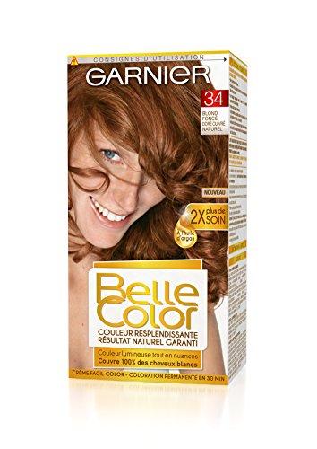 Garnier - Belle Color - Coloration permanente Rouge - 34 Blond foncé doré cuivré naturel Lot de 2
