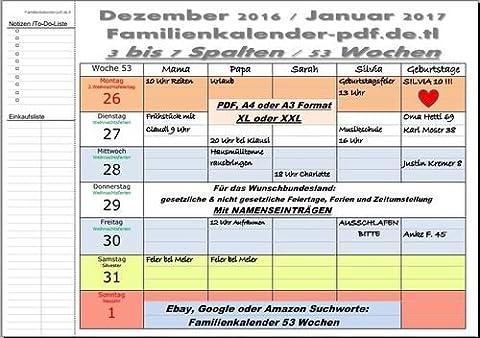 XL Familienkalender 2018 Deutschland A4 quer-Format 53 Wochen 5 Spalten inkl. Feiertage OHNE Namenseinträge&OHNE Ferien mit Ringbindung (Dezember Kalender 2016 Weihnachten)