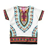Zerototens Kids T-Shirt,0-7 Years Old Children Baby Boys Girls Baggy Bright African Dashiki Short Sleeve Baggy T Shirt Tee Tops Beachwear Outfit