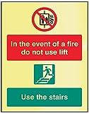 Caledonia segni 41248E Sign, in caso di incendio non usare l' ascensore, usare scale