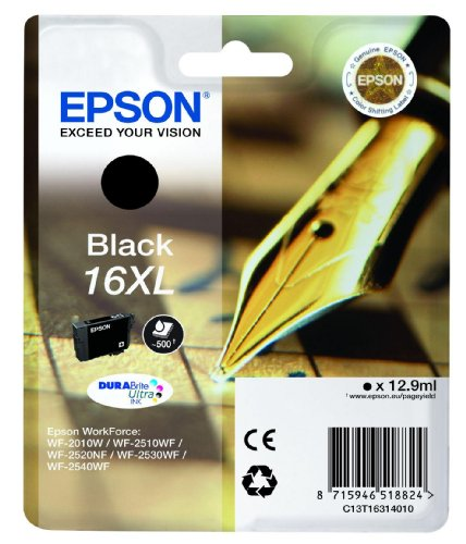 epson tintenpatronen 16xl Epson Original T1631 Tintenpatrone Füller, wisch- und wasserfeste Tinte XL (Singlepack) schwarz