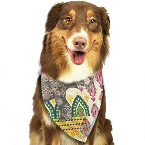 (Sdltkhy Bohemia Elephant Bohemia Elephant Pet Bandana Washable Reversible Triangle Bibs Scarf - Kerchief for Small/Medium/Large Dogs & Cats)