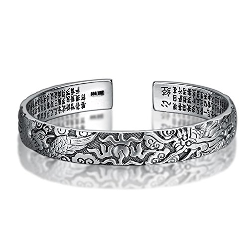 Aeici Silber Armbänder für Herren Vintage-Stil Armband Drache Herz Sutra Armband