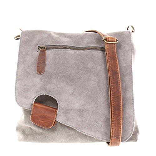 Leconi borsa a tracolla per donna crossbag pelle scamosciata borsa in vera pelle naturale borsa da donna borsa a spalla borsa a mano 29x29x6cm grigio le3027-vl