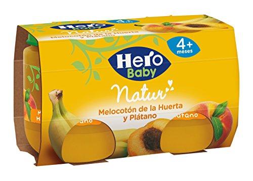 Hero Baby Melocotón Plátano, Tarrito de Cristal - Paquete de 2 x 120 gr - Total: 240 gr