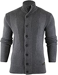 Pour Homme Coton en tricot Entonnoir cou Pull cardigan haut (Mira) par Brave Soul