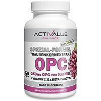 Preis-Leistungs-SIEGER* OPC | Dr.med.Wagner | 4-Monatspackung | 525mg Traubenkernextrakt und 250mg OPC pro Kapsel | 100% vegan | mit nat. Vitaminen C, E und beta-carotin | ohne Magnesiumstearatä