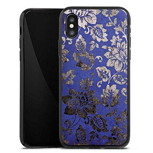 Apple iPhone X Silikon Hülle Case Schutzhülle Ornament Blumen Silber Silikon Case schwarz