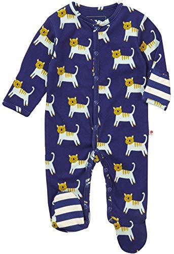 Piccalilly Unisex Baby Schlafanzug mit Füßen Navy Blauen Tiger Muster für Jungs und Mädchen -