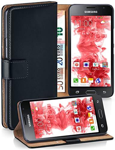 MoEx® Booklet mit Flip Funktion [360 Grad Voll-Schutz] für Samsung Galaxy J1 (2016)   Geldfach und Kartenfach + Stand-Funktion und Magnet-Verschluss, Schwarz