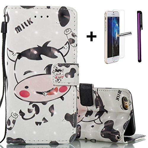 iPhone 6S Plus Coque iPhone 6 Plus liquide Paillettes Coque, CE i6 Plus [Sparkle Diamant Mode Miroir] Luxe Bling hybride souple TPU Bumper + Ultra fin PC Dos rigide Miroir pour iPhone 6S Plus/iPhone 6 P- Cows Series 7