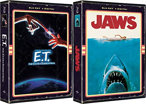 Retro Blu-ray Exclusive in VHS Clamshell Case Steven Spielberg Classics E. T. The Extra-Terrestrial & Jaws 2-Movie Bundle with Digital Clamshell Case