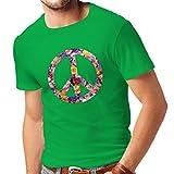 Männer T-Shirt Friedenssymbol, 60er, 70er Jahre, Hippie, Friedenszeichen Blume, Sommer, Retro, Swag (X-Large Grün Mehrfarben)