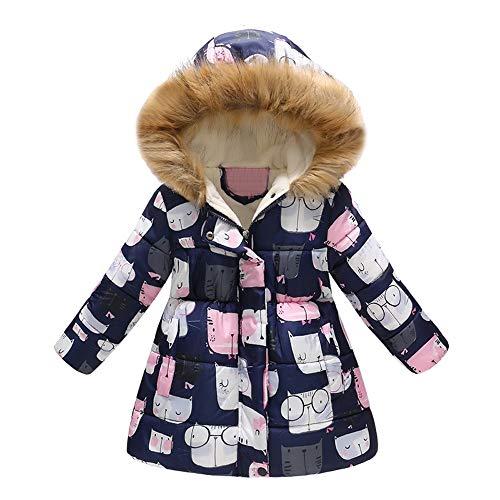 (Yanhoo Wintermantel Baby Jungen Mädchen Verdickte mit Cartoon Mob Kapuzen Pelzkragen Daunenjacke Steppjacke Winterjacke Warm Lang Winddicht Trenchcoat Outerwear)