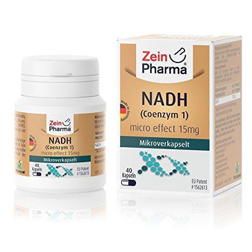 Cápsulas de Coenzima 1 NADH 15mg de ZeinPharma • 40 cápsulas (5 semanas de suministro) • NADH estabilizado y patentado de PANMOL • Hecho en Alemania