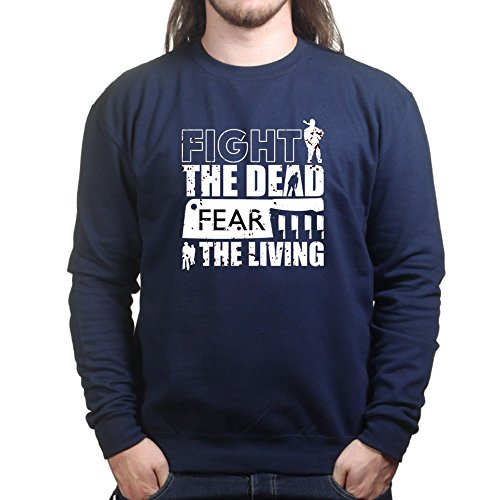 Mens Fight The Dead Walking Zombies Halloween Sweatshirt M Navy Blue (Walking Halloween Ideen Dead)