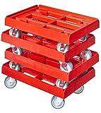 4 Stück Transportroller für Kisten 60 x 40 cm mit 4 Lenkrollen