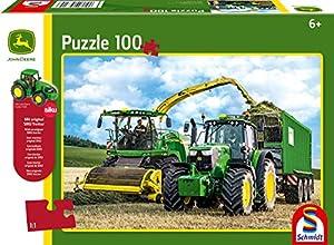 Schmidt Spiele Puzzle 56315John Deere 6195M y Quemador häcksler 8500i, 100Piezas Infantil Puzzle con Siku Tractor