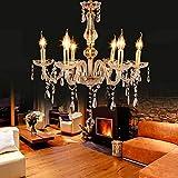 Samger Lustre Cristal Doré à 6 bras E14 Lustre Salon Cristal K5 Lampe de Plafond Moderne pour Chambre Couloir Entrée