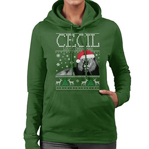 Cecil Loved Christmas Knit Women's Hooded Sweatshirt Bottle Green