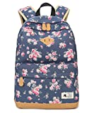 DNFC Canvas Rucksack Damen Mädchen Schulrucksack Fashion Schulranzen Teenager Schultaschen Blumen Freizeitrucksack Mode Daypack Backpack für Frauen (Blau)