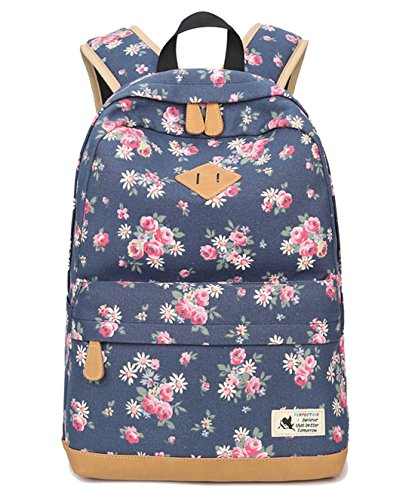 DNFC Canvas Rucksack Damen Mädchen Schulrucksack Fashion Schulranzen Teenager Schultaschen Blumen Freizeitrucksack Mode Daypack Backpack für Frauen (Blau) -