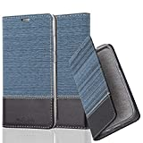 Cadorabo Hülle für Huawei P20 - Hülle in DUNKEL BLAU SCHWARZ – Handyhülle mit Standfunktion und Kartenfach im Stoff Design - Case Cover Schutzhülle Etui Tasche Book