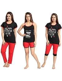 "Tucute Girls / Womens Cotton Hosiery 5pcs Set ( Top,Pajama,Capri,Slip T-shirt & Shorts) Bust Size L:37"" XL:40"" XXL:42"""