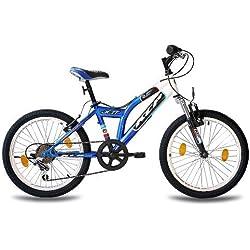 KCP - JETT Bicicleta de montaña para niños, tamaño 20'' (50,8 cm), color blanco/azul, 6 velocidades