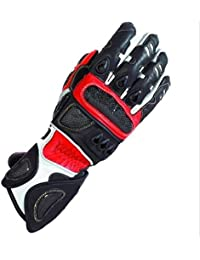 Red Vector Race Kevlar Leather Vented Motorcycle Gloves rp £62