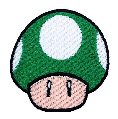Irland Mario Kostüm Super - Grün Pilz 1Up Patch Embroidered Iron on Badge Aufnäher Kostüm Mario Kart/SNES/Mario World/Super Mario Brothers/Mario All Stars Cosplay