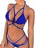 chicolife Bikini Damen Triangel, Damen Bandage Bikini Satz Push-up Gepolstert Halter Bandeau Einfarbig Badeanzug Baden Strand Badebekleidung