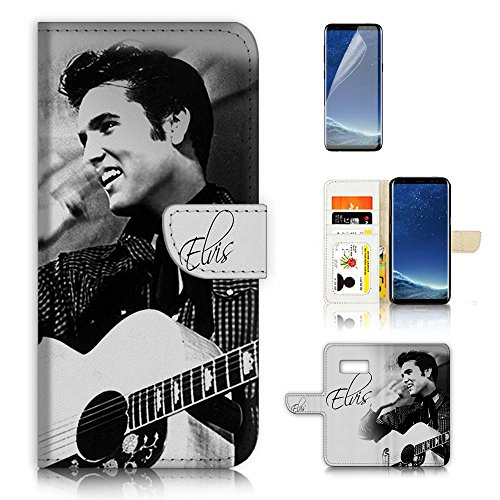 (für Samsung Galaxy S8) Flip Wallet Case Cover & Displayschutzfolie Bundle. a20402 Elvis Presley (Handy Presley Elvis)