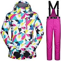 Mignon84Cook Traje de esquí para Mujer, Ski Jacket + Pants, a Prueba de Viento A Prueba de Viento Fleece Trajes de esquí para Invierno al Aire Libre