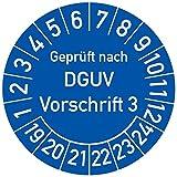 Geprüft nach DGUV Vorschrift 3 Prüfplakette, 500 Stück, in verschiedenen Farben und Größen, Prüfetikett Prüfsiegel Plakette DGUV V3 (25 mm Ø, Blau)