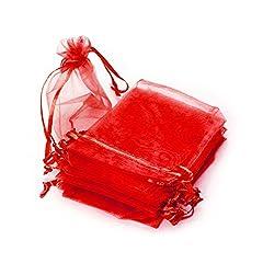 Idea Regalo - Ruby-50sacchetti in organza per confezioni regalo, gioielli e confetti di matrimonio, 9 x 12cm rosso