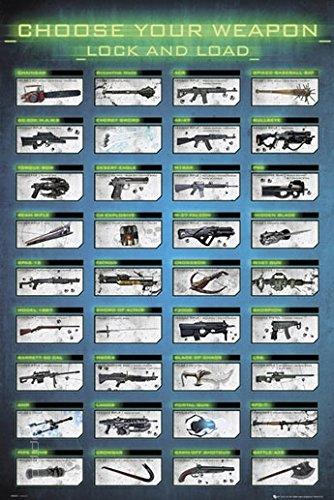 Poster Choose Your Weapon - Waffenauswahl bekannter Computerspiele - Größe 61 x 91,5 cm - Maxiposter