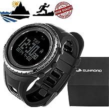 SUNROAD FR801B Multifunction Sports Watch -Pedometer Stopwatch Altimeter Barometer Thermometer CompassTimer LCD Display EL Backlight Outdoor Watch (Black) Herren