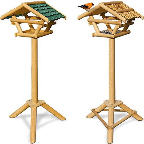 Vogelhaus Vogelhäuschen Futterstation Futterhaus mit Ständer -Bambusdach - 2