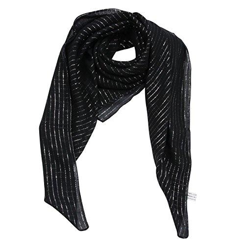 Superfreak® Baumwolltuch mit Silber Lurex - Tuch - Schal - 100x100 cm - 100% Baumwolle Farbe: schwarz