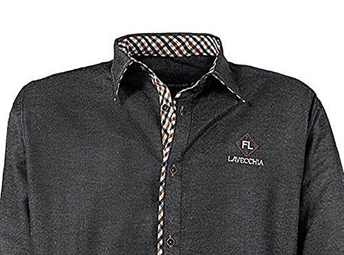 Übergrössen !!! Schickes Herrenhemd LAVECCHIA LV-9003 4 Farben Anthrazit