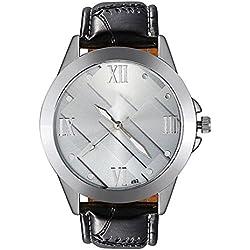 Bodhi2000® Men's Business Faux Leather Watch Band Strap Quartz Wrist Watch Sliver