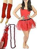 Islander Fashions Donna degli Anni ottanta Hen Night Red Devil Costume Womens Stag Do Party Wear Outfit Set IT 46