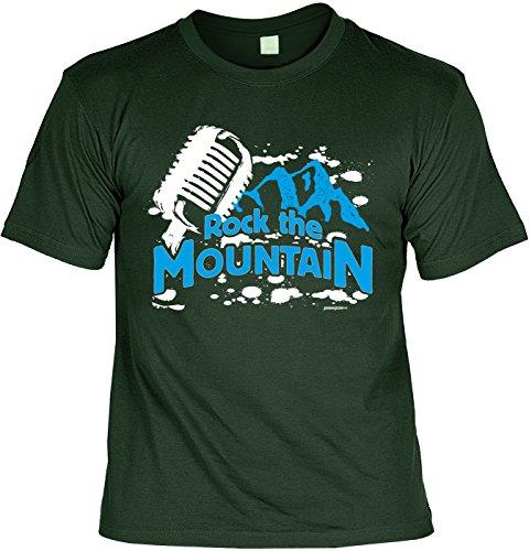 Wander T-Shirt Shirt Rock the Mountain Bergsteiger Wandertour Pilgern Alpinisten Ski Tour Wander Tour Wanderkleidung Dunkelgrün