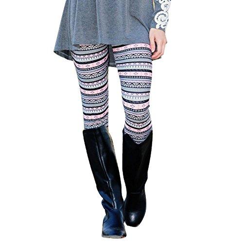 ZARU ♥♥♥Tribal Rosa Leggings apretados Pantalones Ropa de la familia Mujeres Pantalones♥♥♥ (L)