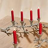 GILDE Kerzenständer Geweih aus Aluminium für 4 Kerzen, 11x15x46 cm, Silber