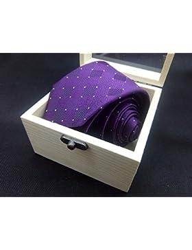 Plyhlc Corbata de Hombre Corbata de Lazo Corbata de Seda Corbata de Seda de Hombre Corbata a Rayas Violeta