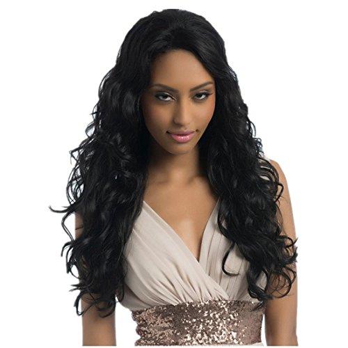 Meylee Perücken Lange, tiefe Welle Echthaarperücken für Frauen 25 Zoll Lace Perücken weichen brasilianischen natives 1 b Haarfarbe mit 1 kostenlose Perückekappe und Perücke